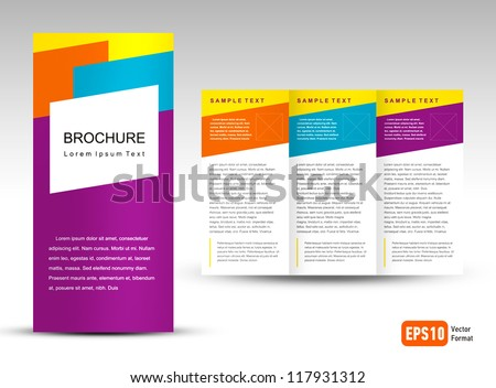 Vector Brochure Tri-fold Layout Design Template colorful - stock vector