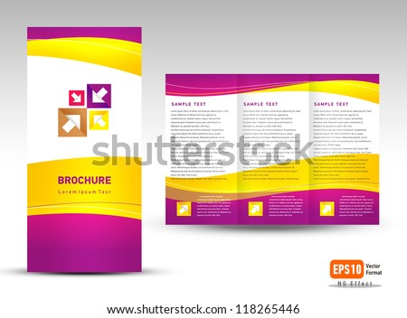 Vector brochure tri-fold layout design template yellow violet white color background - stock vector