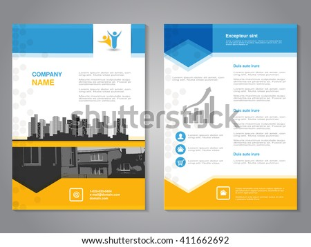 Vector brochure with arrow design, flyer with background of monochrome buildings. Layout template. Aspect Ratio for A4 size. Poster of blue, yellow, grey, black and white color. Magazine cover.
