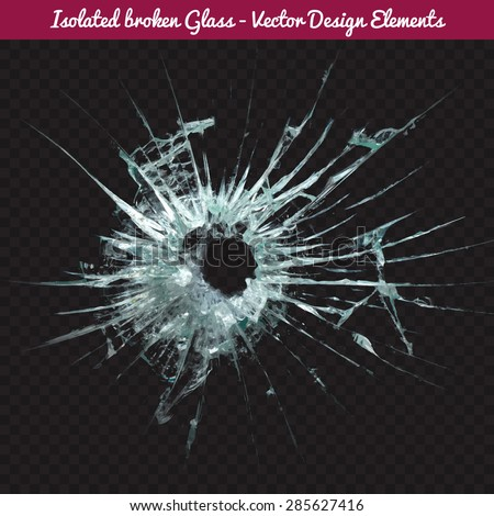 Vector broken glass. Isolated realistic cracked glass effect, concept element. To use Complete Glass texture release clipping mask. - stock vector