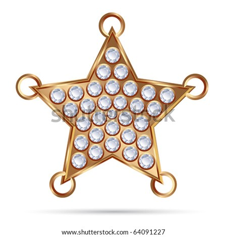 Vector Bronze Diamond Star with rings - stock vector