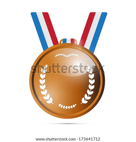 Vector Bronze Medal, Award Isolated on White Background  - stock vector