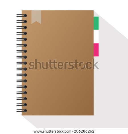 Vector Brown front cover notebook - stock vector