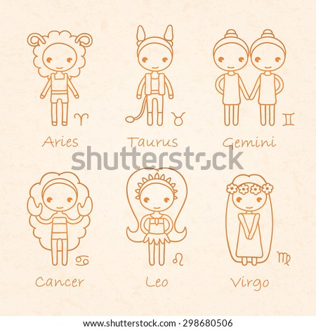 vector brown hand drawing zodiac signs Aries, Taurus, Gemini, Cancer, Leo, Virgo - stock vector
