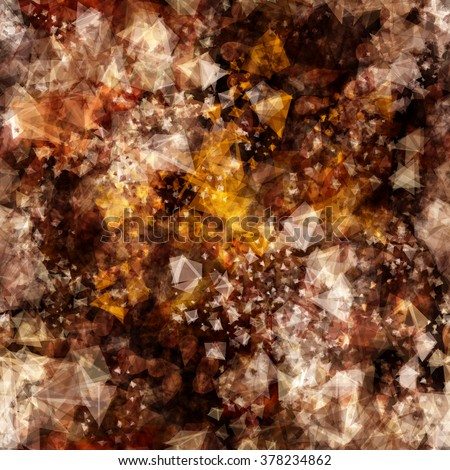 Vector. Brown seamless pattern of triangular elements. Crystals with the effect of precious stones. Like blurred effect.