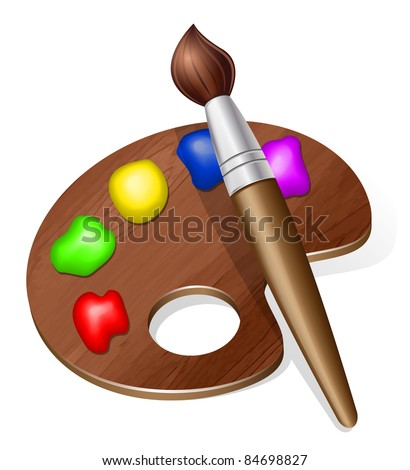 Vector Brush and Palette Icon - stock vector
