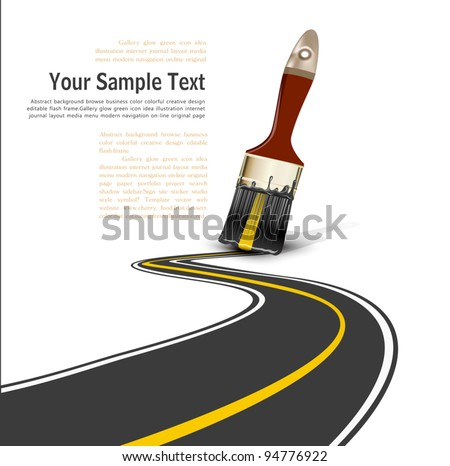 Vector brush drawing a paved road - stock vector