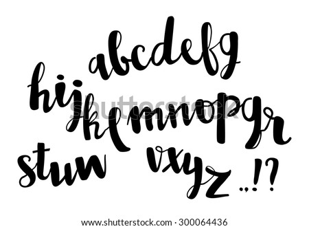 Vector brush pen lettering alphabet. Hand drawn isolated letters. - stock vector