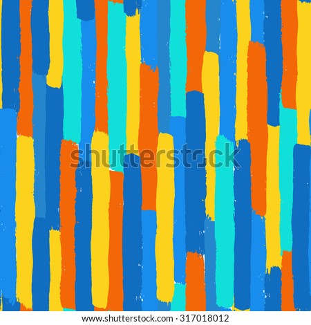 Vector Brush Stroke Textured Seamless Pattern. Colorful striped pattern, painted background. Brush stroke texture. Chaotic vertical lines design. Vibrant colors blue, orange and yellow. Grunge style - stock vector