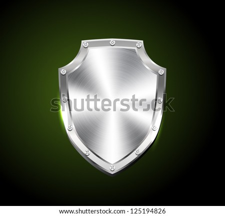 Vector brushed silver steel shiny shield - stock vector