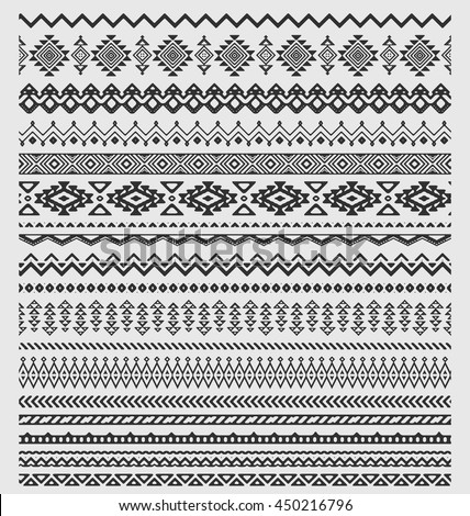 Vector brushes collection in boho style. Aztec style set of ornament borders for patterns, mandalas and frames. Pattern brushes are included in swatch panel. - stock vector