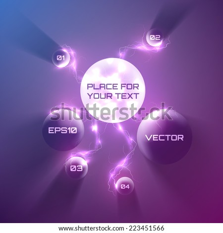 Vector bubble speech with many lightning 3d style. - stock vector