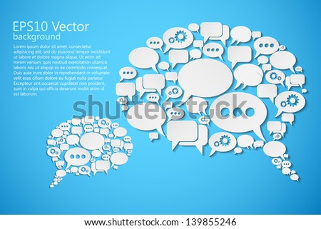 vector bubble speeches on blue - stock vector