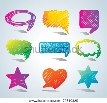 Vector bubbles for speech. Doodle background. - stock vector