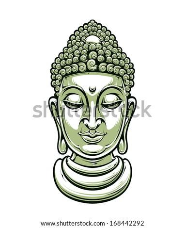Vector buddha head isolated on white. Vector EPS 10 illustration.  - stock vector