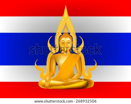 vector buddha on thailand flag background - stock vector