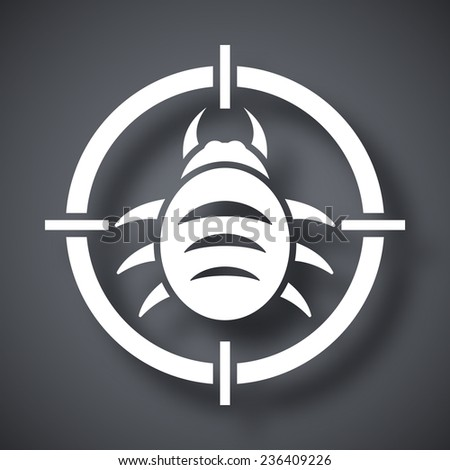 Vector bug target icon - stock vector