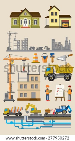 vector building and construction icons set on beige - stock vector