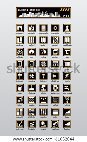 Vector building and reconstruction icons set - stock vector