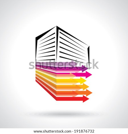 vector building design with business arrows - stock vector
