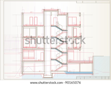 vector building section - stock vector