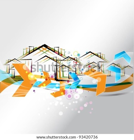 vector buildings design with arrows - stock vector