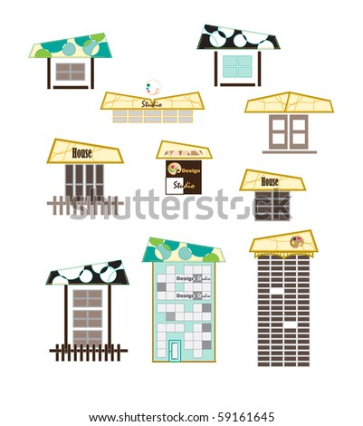 Vector Buildings Icon. House vector Icons for Web. Construction or Real Estate concept. Abstract color element set of corporate templates. Just place your own name. - stock vector