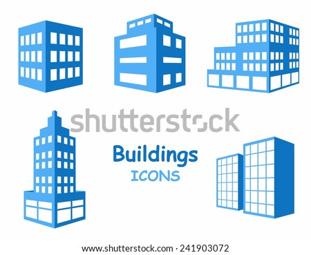 Vector buildings icons. Set of buildings in blue tone - stock vector