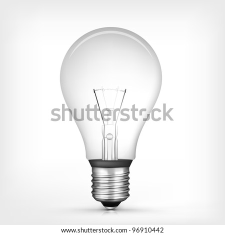 Vector Bulb Isolated on Grey Gradient Background. Vector. - stock vector