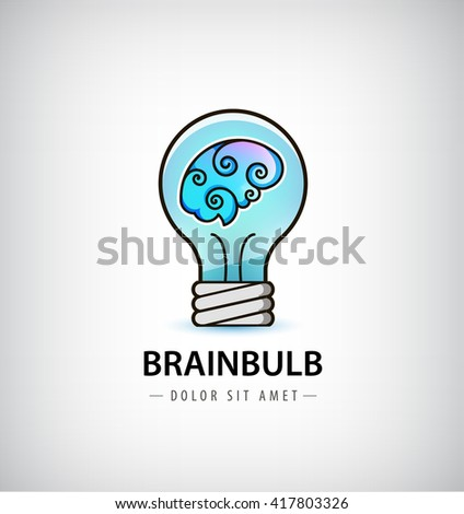 Vector bulb with brain inside logo. Abstract  brainstorming creative sign or symbol. Creativity, generating ideas, minds flow, thinking, imagination, inspiration concept. - stock vector