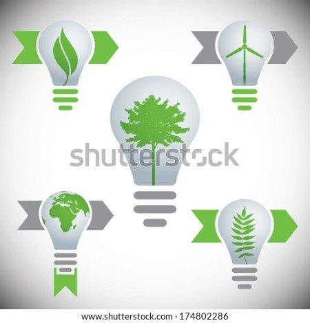 Vector bulbs with eco signs