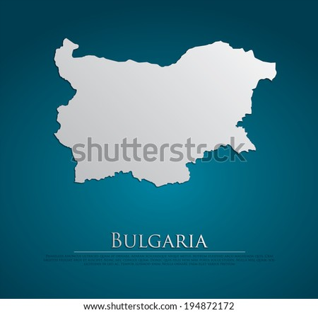 vector Bulgaria Map card paper on blue background, high detailed - stock vector