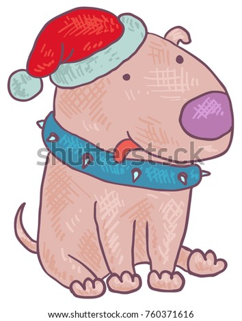 vector bull terrier in the New Year's cap of the new year dog