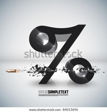 Vector Bullet Sends a Shot Through Percentage Sign - stock vector