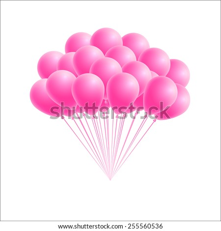 Vector bunch birthday or party pink balloons. Design element for greeting or invitation card - stock vector