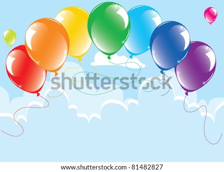vector bunch of colorful balloons in the sky - stock vector