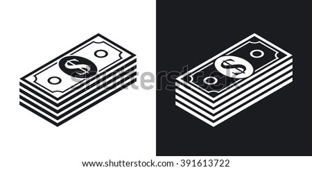 Vector bundle of dollars icon. Two-tone version on black and white background