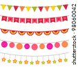 Vector bunting and garland set. Pattern brushes added to EPS file - stock vector