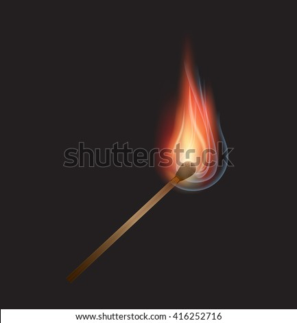 Vector burning match on black background