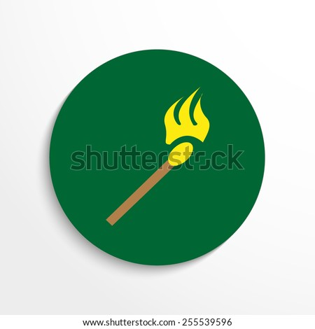 Vector burning match web icon. - stock vector