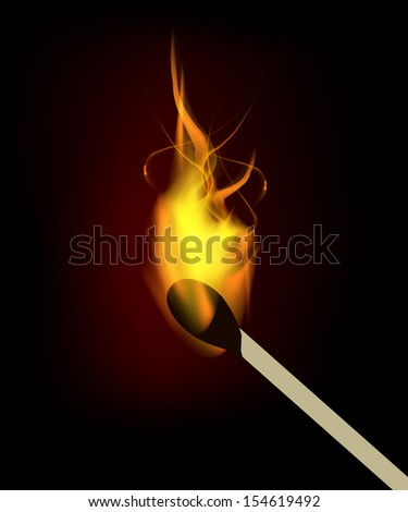 Vector burning match with fire flame. Isolation over black background. - stock vector