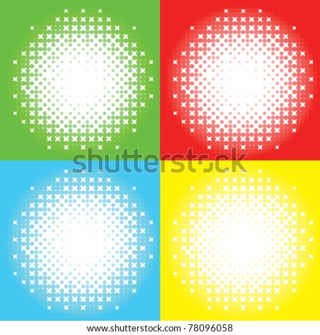 Vector bursting halftone sparkle background set. Composed of perfect circles and in four different colors.