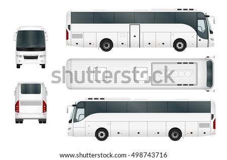 Vector bus template isolated on white background. Separate by groups and layers.