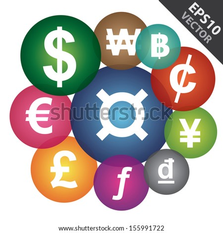 Vector : Business and Currency Exchange Market Concept Present By Group of Colorful Money Currency Icon Isolated on White Background  - stock vector