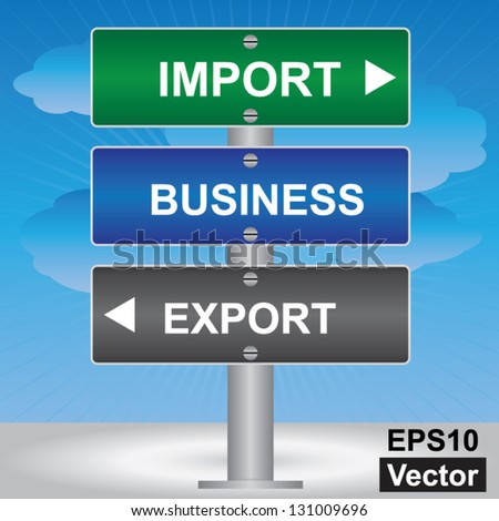 Vector : Business and Finance Concept Present By Green, Blue and Gray Street Sign Pointing to Import, Business and Export in Blue Sky Background - stock vector