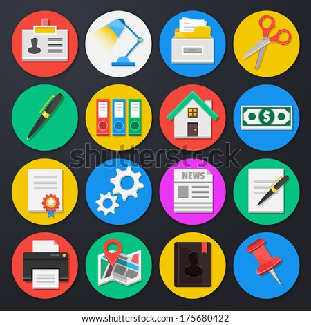 Vector Business and Office Icons Set 4 - stock vector