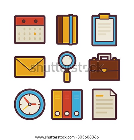 Vector Business and Office Life Items Modern Flat Icons Set. Workplace App Web Elements Collection. Office Lifestyle. Colorful Elements for Mobile Game and Web Application - stock vector