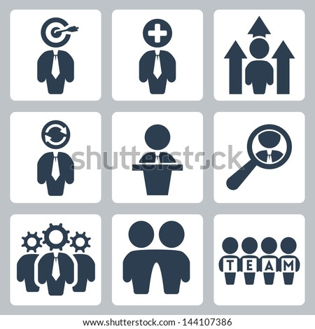 Vector business and partnership icons set - stock vector