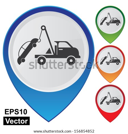 Vector : Business and Service Concept Present By Colorful Glossy Style Map Pointer With Tow Car Sign Isolated on White Background  - stock vector