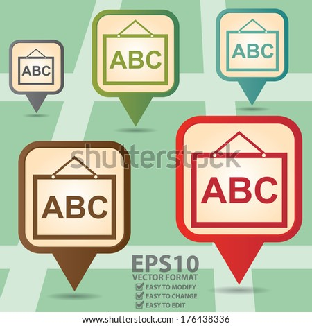 Vector : Business and Service Concept Present By Colorful Vintage Style Map Pointer Icon With School or Tutor Sign in POI Map Background  - stock vector
